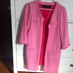 Zara pink tweed top coat
